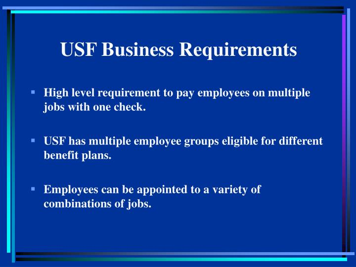 USF Business Requirements