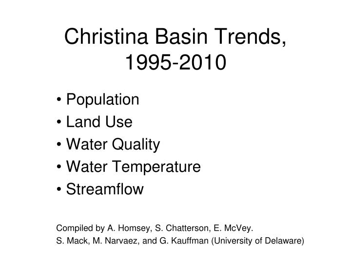 christina basin trends 1995 2010 n.