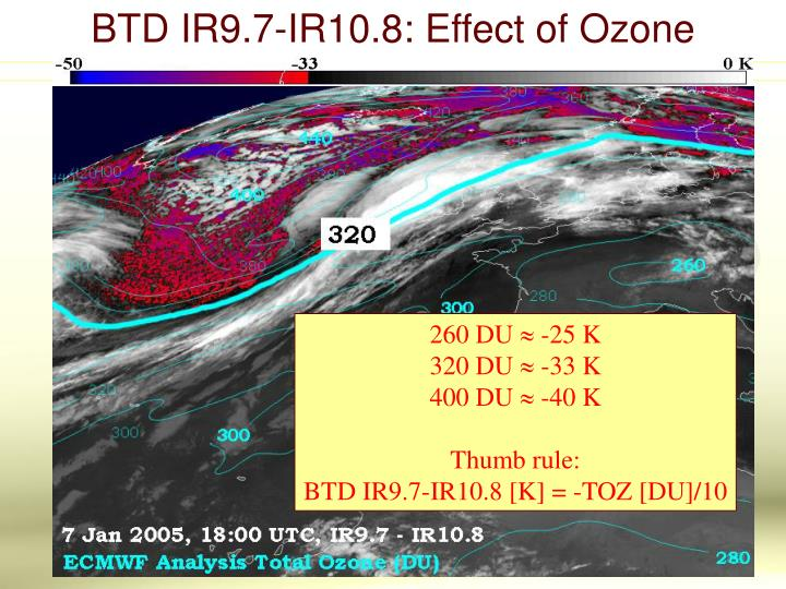 BTD IR9.7-IR10.8: Effect of Ozone