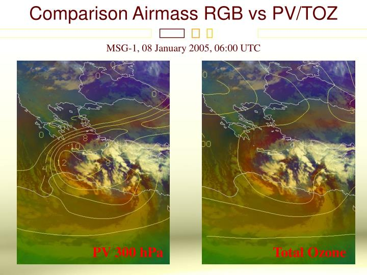 Comparison Airmass RGB vs PV/TOZ