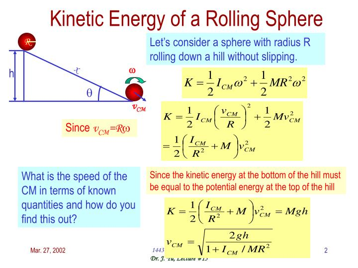 Kinetic energy of a rolling sphere