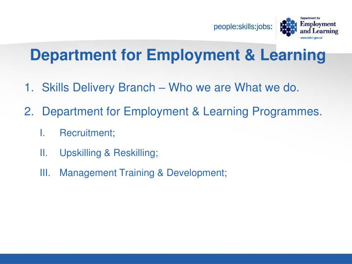 Department for employment learning