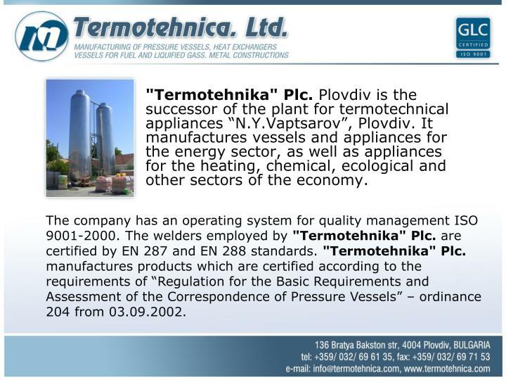 """""""Termotehnika"""" Plc."""