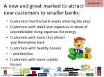 a new and great marked to attract new customers to smaller banks
