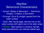 mayflies behavioral characteristics