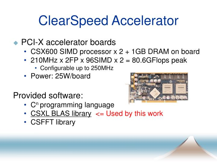 ClearSpeed Accelerator