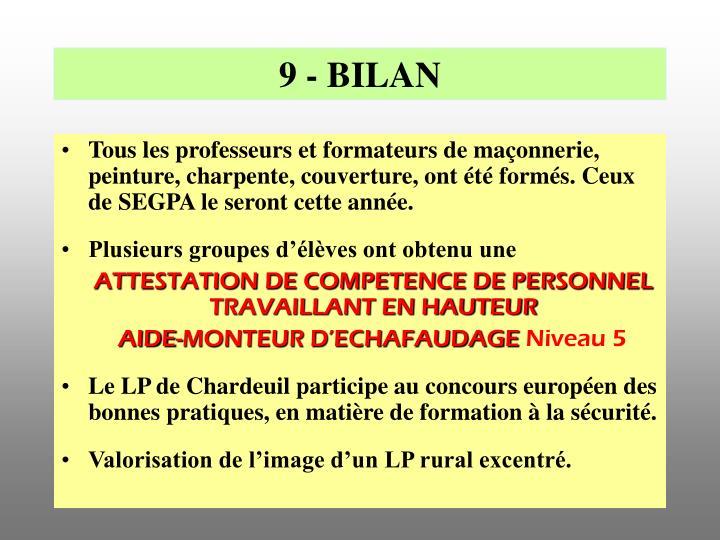 9 - BILAN