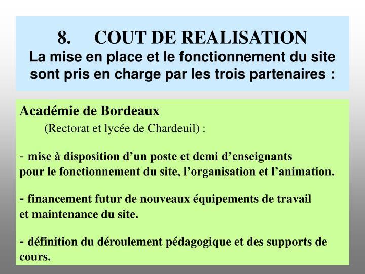 8.COUT DE REALISATION