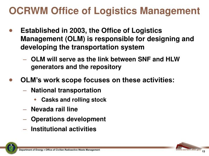 OCRWM Office of Logistics Management