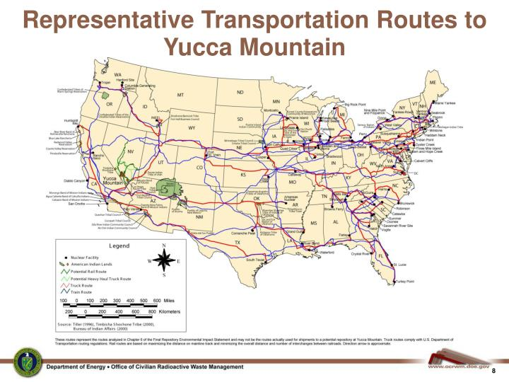 Representative Transportation Routes to Yucca Mountain