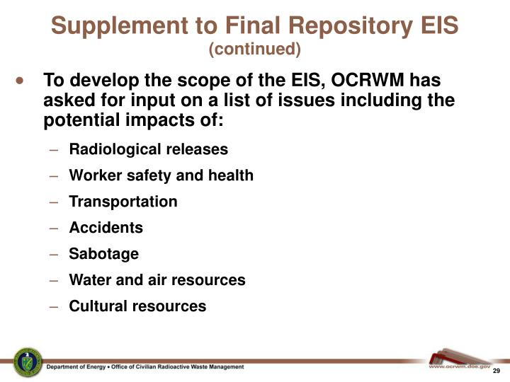 Supplement to Final Repository EIS