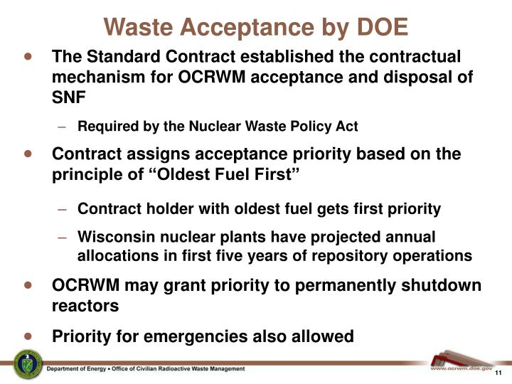 Waste Acceptance by DOE