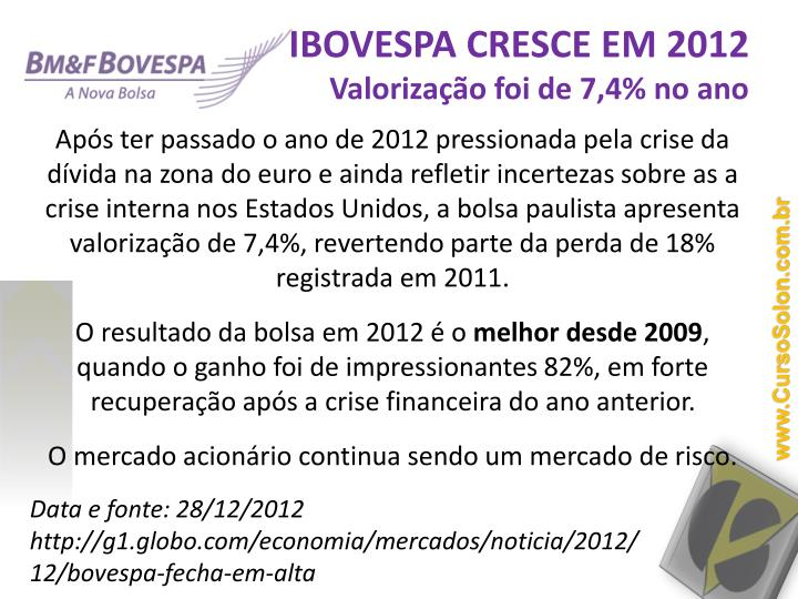 IBOVESPA CRESCE EM 2012