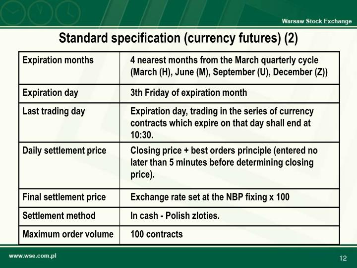 Standard specification (currency futures) (2)
