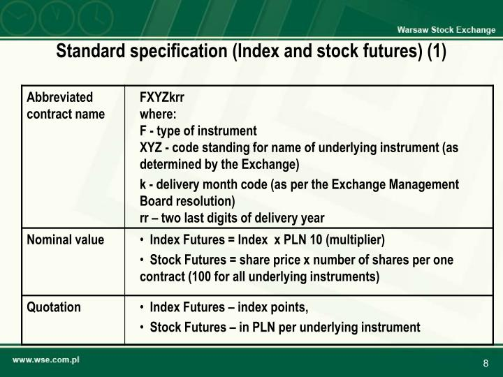 Standard specification (Index and stock futures) (1)