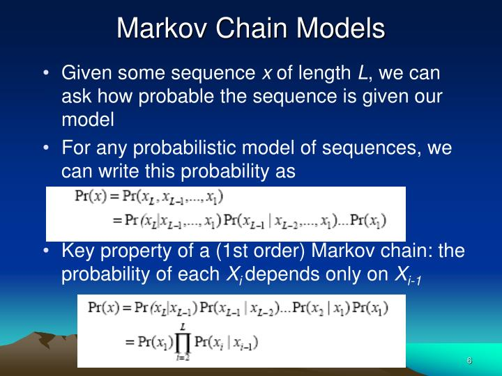 markov chain model In the following model, we use markov chain analysis to determine the long-term, steady state probabilities of the  markov chain model sets:  there are four states in our model and over time.