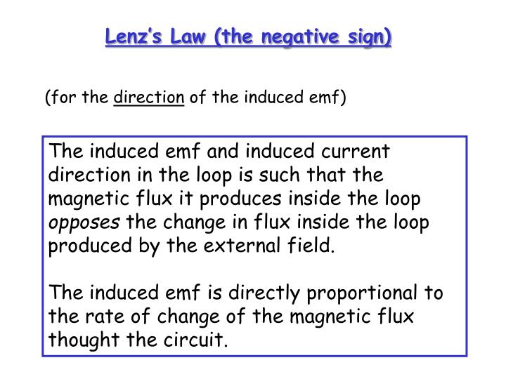 Lenz's Law (the negative sign)