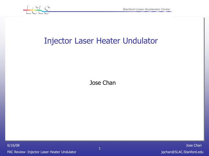 Injector laser heater undulator