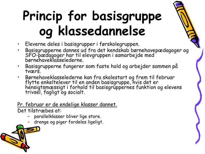 Princip for basisgruppe og klassedannelse