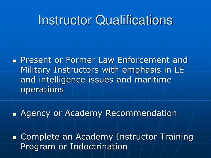 Instructor Qualifications