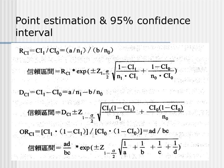 Point estimation & 95% confidence interval