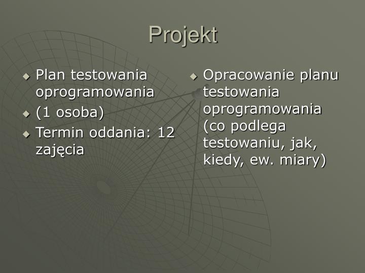 Plan testowania oprogramowania