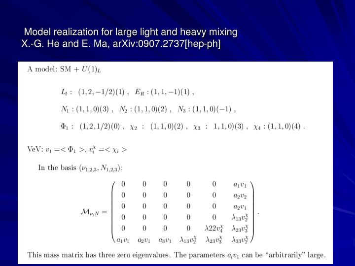 Model realization for large light and heavy mixing