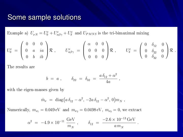 Some sample solutions