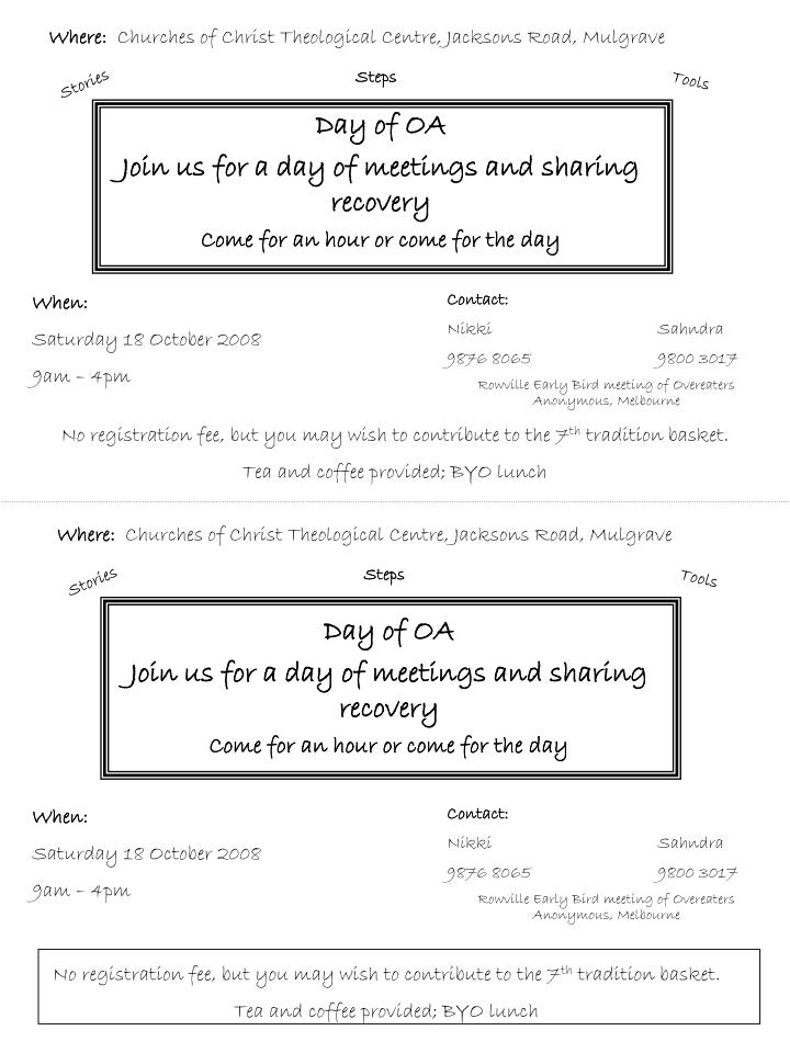day of oa join us for a day of meetings and sharing recovery come for an hour or come for the day