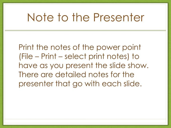 note to the presenter n.