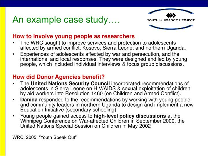 An example case study….