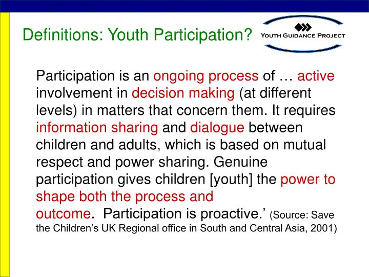 Definitions: Youth Participation?