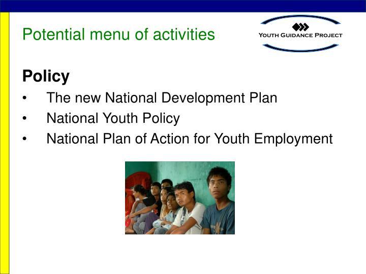 Potential menu of activities