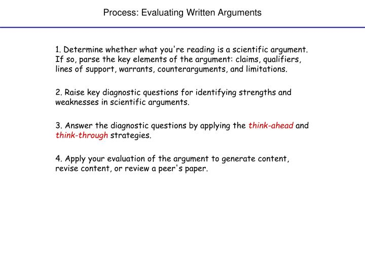 Process evaluating written arguments