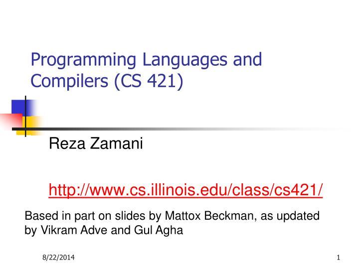 programming languages and compilers cs 421 n.