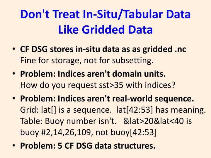Don't Treat In-Situ/Tabular Data Like Gridded Data
