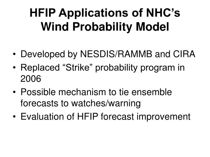 HFIP Applications of NHC's