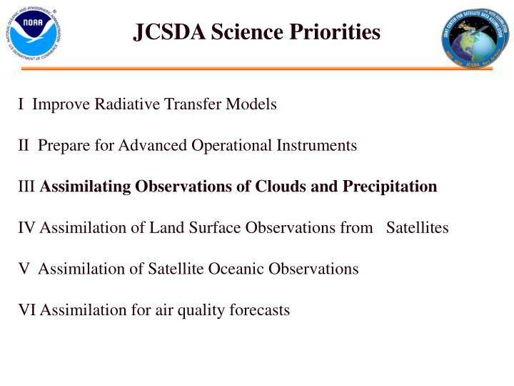 JCSDA Science Priorities