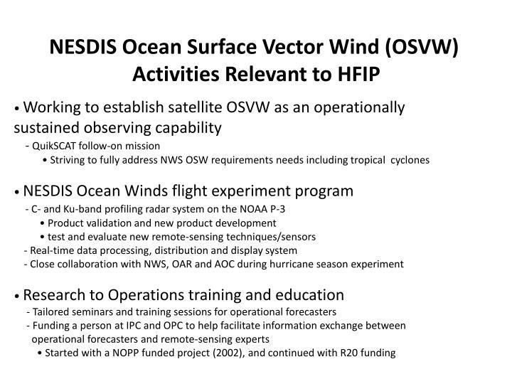 NESDIS Ocean Surface Vector Wind (OSVW)