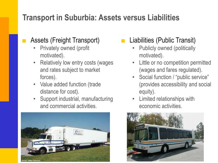 Transport in suburbia assets versus liabilities