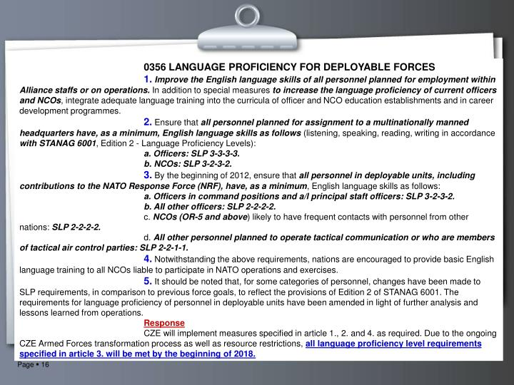 0356 LANGUAGE PROFICIENCY FOR DEPLOYABLE FORCES