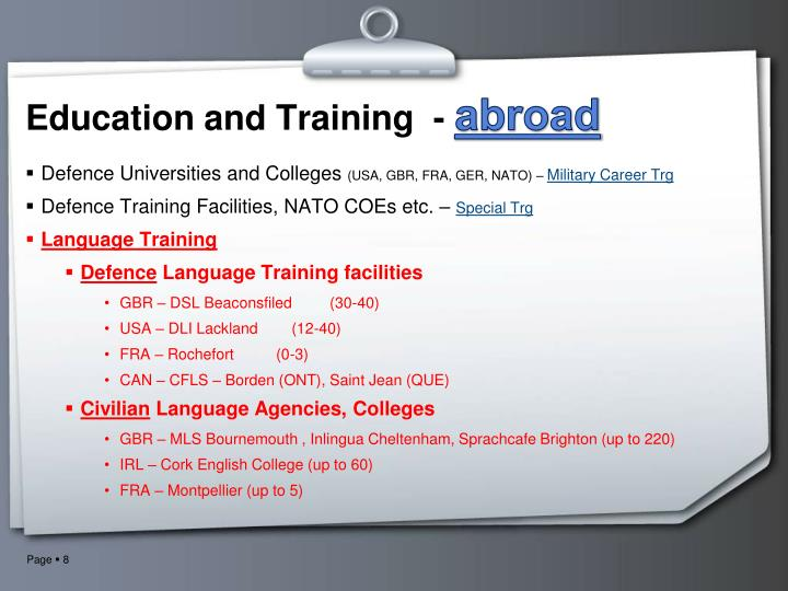 Education and Training  -