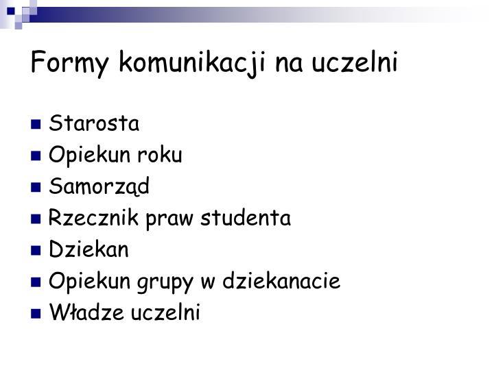 Formy komunikacji na uczelni