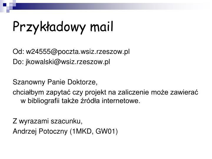 Przykładowy mail