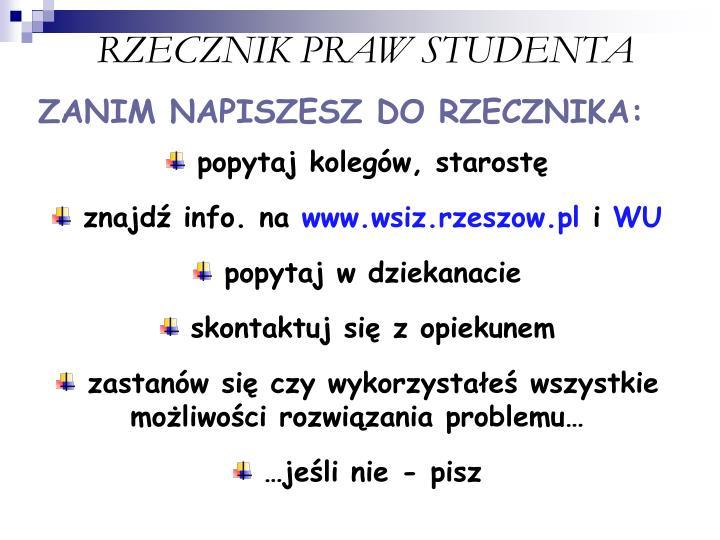 RZECZNIK PRAW STUDENTA
