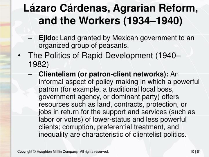 Lázaro Cárdenas, Agrarian Reform, and the Workers (1934–1940)