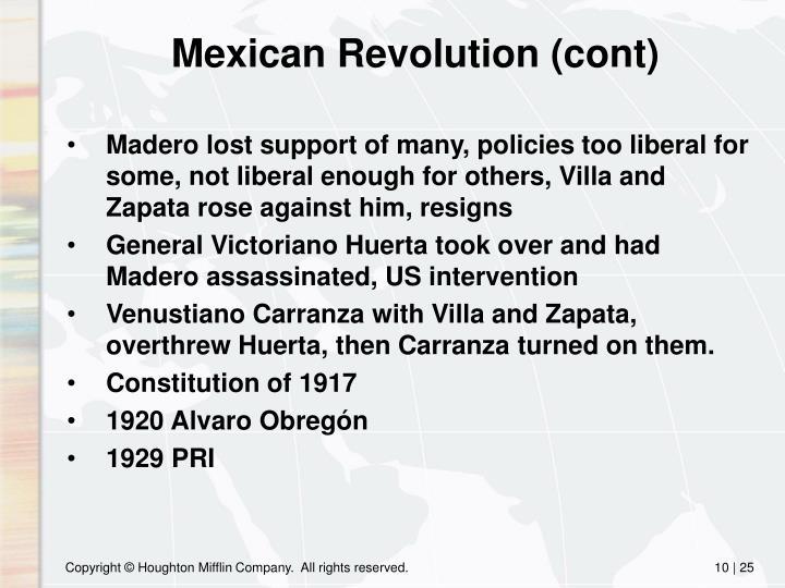 Mexican Revolution (cont)