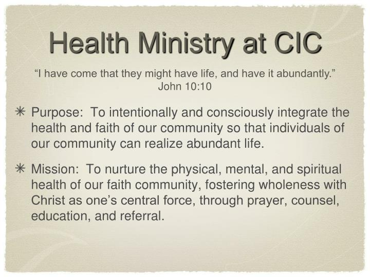 Health Ministry at CIC