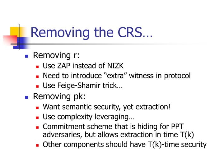 Removing the CRS…