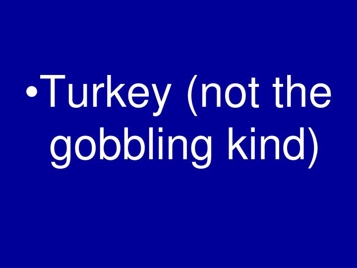 Turkey (not the gobbling kind)